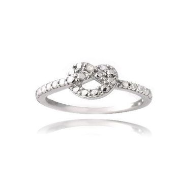 925 Silver Diamond Accent Love Knot Promise Ring