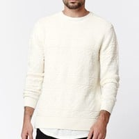 On The Byas Wicks Crew Neck Cable Knit Sweater - Mens Sweater - White