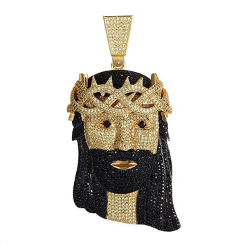 Gold Plated Micro Pave Hip Hop Full Black Yellow Iced Out Jesus Piece Pendant