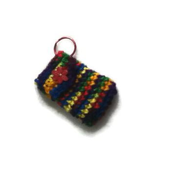 Classic Rainbow KeyChain Pouch with Red Flower Button