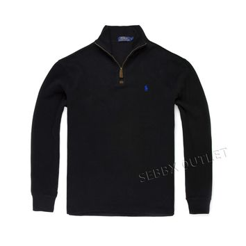 Polo Ralph Lauren Sweater 1/2 Zip Neck French Ribbed Black