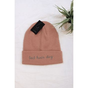 Bad Hair Day Embroidered Beanie - Pink