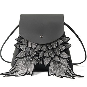 Wing Drawstring leather Woman Wings Backpack