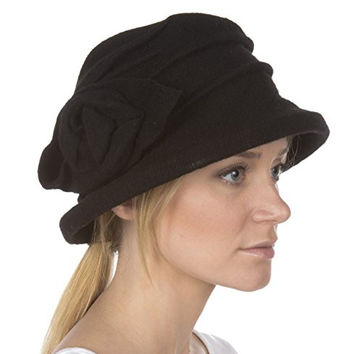 Sakkas 8625WSS Victoria Rose Wool Hat - Black - One Size