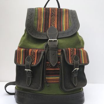 Handmade Green and Brown Genuine Leather Aguayo Backpack