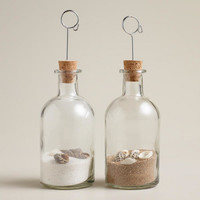 Glass Bottle Cardholders, Set of 2