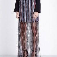 BURBERRY - Braid-embroidered cotton maxi skirt | Selfridges.com