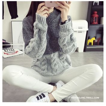 Women's One Size Two Tone Grey Thick Chunky Wool Cable Knit Sweater