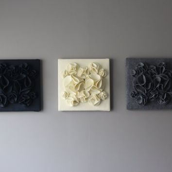 Three Wall Art Canvases, Navy Blue, Gray and Ivory 3D 12x12 Wall Hangings, Felt Wall Art, Nursery Art, Wall Flower Art, Wall Decor