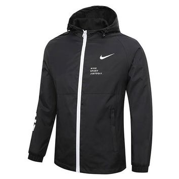 NIKE 2018 new men running outdoor sports breathable zipper cardigan jacket Black