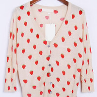 Strawberry Print Button-up Cardigan