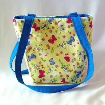 Butterfly Purse, Small Tote Bag, Handmade Handbag, Yellow Fabric Bag, Cloth Purse, Floral, Shoulder Bag, Teen Purse, Gift for Her