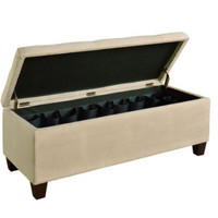 Storage Ottoman with Shoe Storage Compartment Living Room Furniture Beige