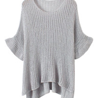 Gray Flare Sleeve Sweater