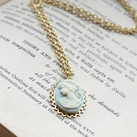 Ivory on Pale Blue Lady Cameo Pendant Necklace in Gold - Handmade Victorian-Inspired Jewelry - Ready to Ship