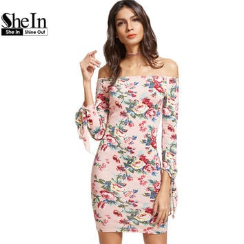 SheIn Women's Dress Spring Dresses 2017 Pink Floral Print Off The Shoulder Three Quarter Length Tie Sleeve Bodycon Dress