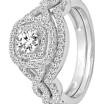 CERTIFIED 1.00 Carat 14K White Gold White Diamond Swirl Bridal Halo Engagement Ring Set
