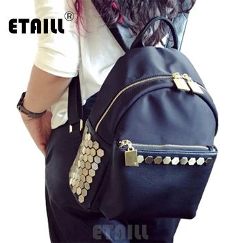 Waterproof Black Studded Backpack School Famous Backpack Brands High Quality Luxury Mochilas Mujer 2016 Escolares Moda Marca
