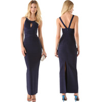 Women's Fashion Hollow Out Spaghetti Strap Backless Split Bandages Dress [4919756548]
