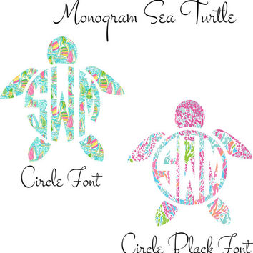 Lilly Pulitzer  Monogram Turtle Decal