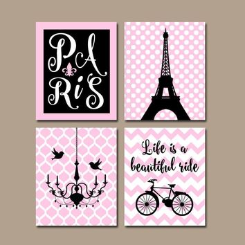 PARIS Wall Art, CANVAS or Prints, Eiffel Tower Decor, Pink Black, Paris Nursery Decor, Girl Bedroom Pictures, Set of 4 Chandelier Bicycle