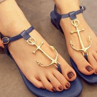 Navy Anchor Thong Sandals