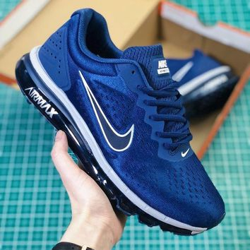 DCCK2 N347 Nike Air Max 2019 Full Palm Cushion Breathable Casual Running Shoes Dark Blue