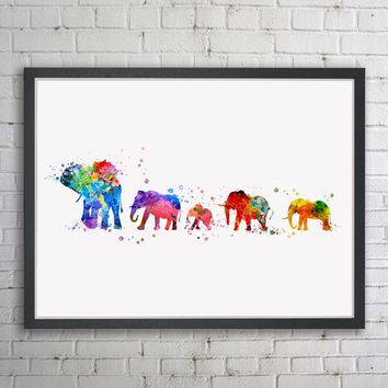 Watercolor Elephant Family Inspirational Wall Poster Elephant Art Print Modern Art Decor  No Frame