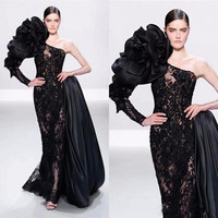 Latest Fashion Pageant Dresses for Women Dress Evening Long Sleeve Flower Evening Gown Black Lace Mermaid Prom Dress