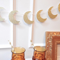 Moon Garland - Halloween Garland - Fall Decor - Moon Decor - Halloween Decor - Baby Shower Decor