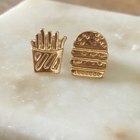 A Burger and Fries Earring Set
