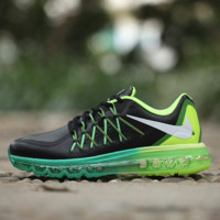 """NIKE"" knitting fashion casual men shoes running shoes breathable couple shoes Black(Fluorescence green+green sole)"