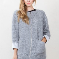 Zoe Gray Wool Zipper Coat