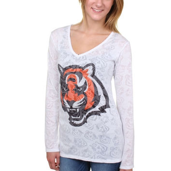 Cincinnati Bengals Women's Sublime Burnout V-Neck Long Sleeve T-Shirt – White