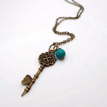 Natural Turquoise Necklace - Antique Dainty Key Necklace - Children Necklace Stone Chakra Healing Bronze Key Pendant , Open Your Heart