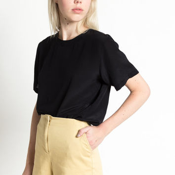 Vintage 90s Esprit Khaki Cotton High Waist Minimal Shorts with Pockets | S