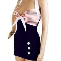 Stripe Navy Blue Retro Pin up Rockabilly Sailor Nautical Women's Bathing Suit Swimsuit Swimwear - X-Large