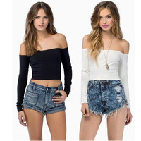 Sexy Woman Strapless  Short mini Crop Tops = 1956660676