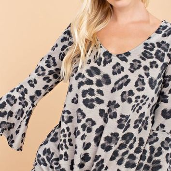 Animal Print 3/4 Ruffled Sleeve V Neck Top with Tie Front - Charcoal