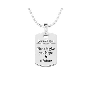 Scripture Tag Necklace with Cubic Zirconia - Jeremiah 29:11