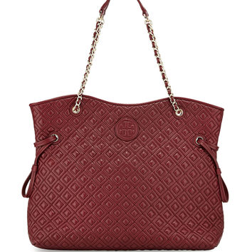 Marion Quilted Slouchy Tote Bag, Red Agate - Tory Burch