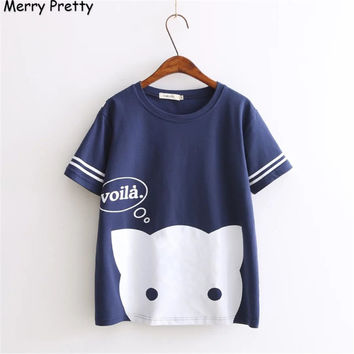 Harajuku summer Printed Kawaii cat Cotton  t shirt women lovely Letter cartoon shirt Good quality comfortable brand casual tops
