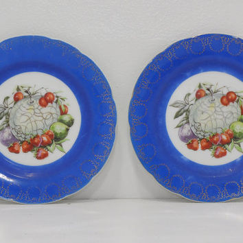 Vintage Decorative Plates • Blue China Fruit Plates • Garden of Plenty Plates • Scalloped Edge Plates • Wall Plates • Country Kitchen