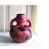 Art Pottery / Double Handled Vase / Made in Japan / Occupied Japan / Vintage Ceramic Vase / Miniature Vase