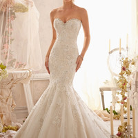 Mori Lee 2623 Beaded Strapless Fit & Flare Wedding Dress