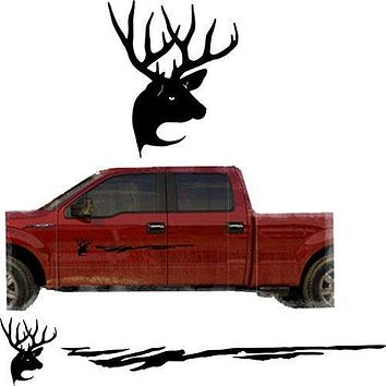 Deer Hunting Buck Trailer Decals Truck Decal Side Set Vinyl Sticker Auto Decor Graphic Kit TT15