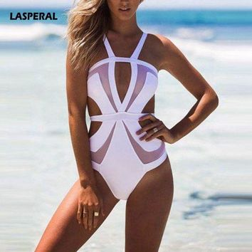 VONETDQ LASPERAL 2017 One Piece Swimsuit Sexy Hollow Out Mesh Patchwork Backless Swimwear Women Summer Bodysuit Bathing Suits Bikini