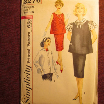 SALE Uncut 1960's Simplicity Sewing Pattern, 3276! Size 11 Maternity/Bust 31 1/2 Small/Women's/Misses/Skirt Cut out Front/Sleeveless Tops/Lo