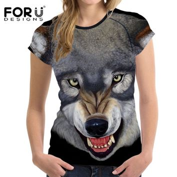 FORUDESIGNS 2017 Summer Women Casual T Shirt For Teen Girls Crop Tops Funny 3D Wolf Animal Female Shirts Tee Tops Brand Clothing