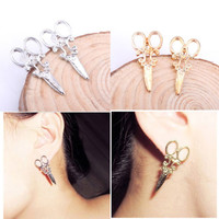 Fashion Unique Scissors Shape Design Punk Women Girls Ear Stud Earring Jewelry